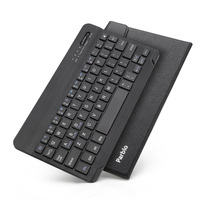 Parblo 9 Inches Black Ultrathin 4mm Bluetooth Keyboard With Black PU Leather Case For PC Ipad