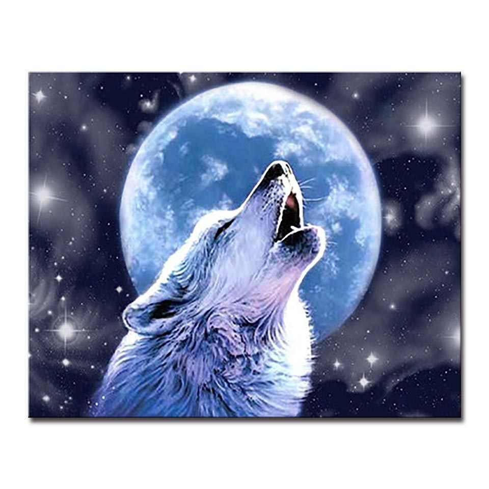 Serigala Malam Bulan Purnama DIY Minyak Lukisan Dengan Angka