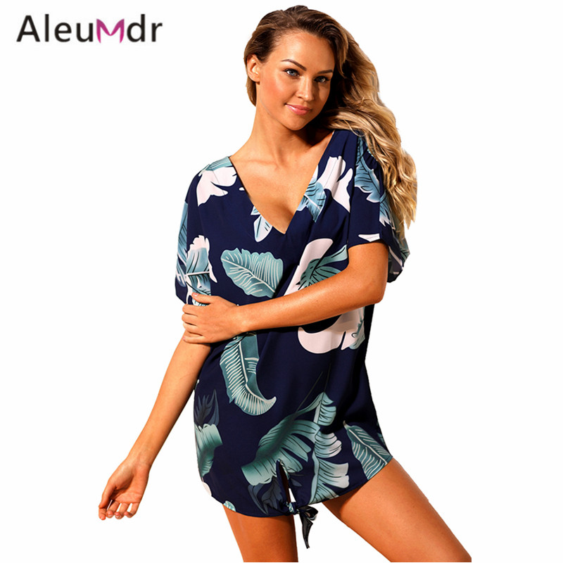 Aleumdr Summer swimwear 2018 new Print Swimsuit Cover Up dress Women Beachwear Swim Wear LC42259 bathing suit cover ups