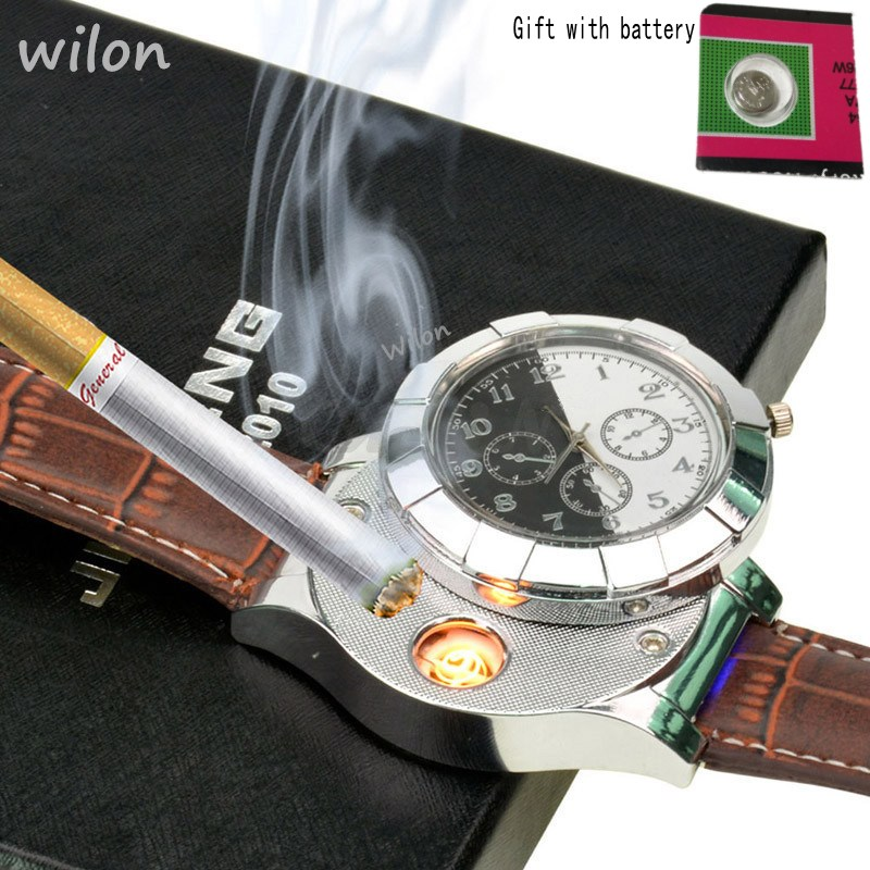 цена на F667 Fashion Rechargeable USB Lighter Watches Electronic Men's Casual Quartz Wristwatches Windproof Flameless Cigarette Lighter