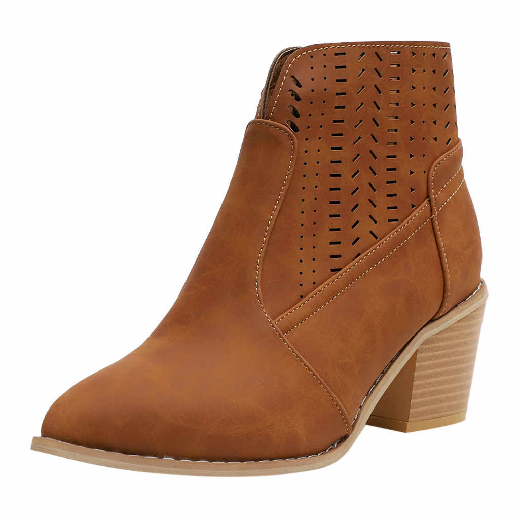 Botas de tacón cuadrado para Mujer Botas de tobillo con