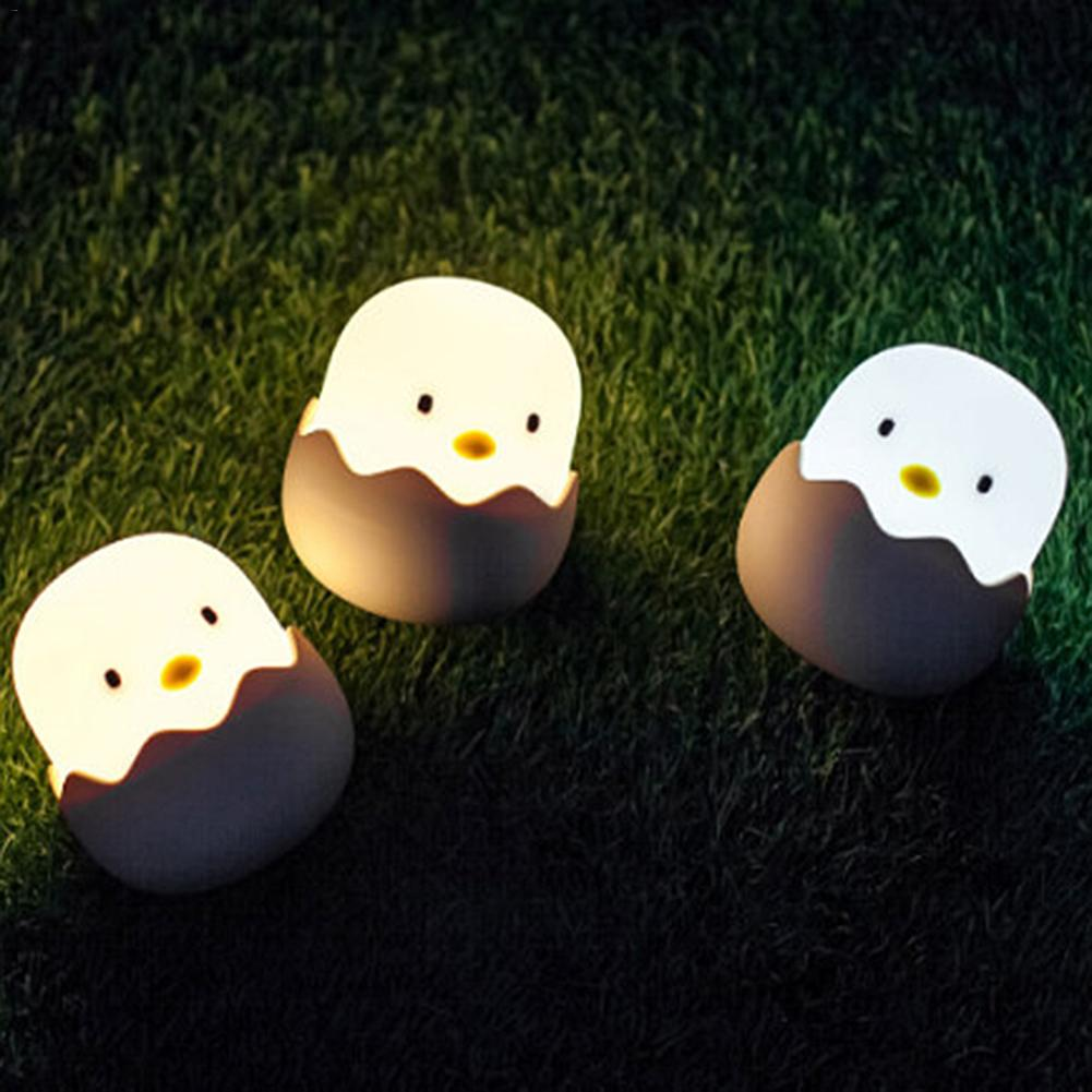 Silicone Chicken Egg Touch Sensor LED Night Light Baby Kids USB Charge Romantic Atmosphere Sleep Night Lamp Desktop Deco Light
