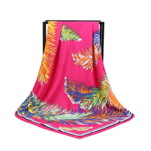 New Arrival Fashion Women soft satin brand scarf / Colorful Feather Printed quare silk scarves 100cm Gifts Wholesale