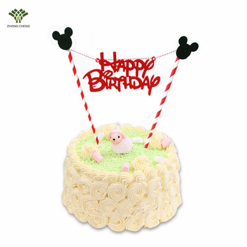 10 Set Mickey Mouse Love Happy Birthday Cake Topper Cake Picks Flag