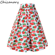 Chicanary 2018 New Fashion Retro Strawberry Skirt Women High Waist Floral Print Skirts 50s Vintage Knee Length