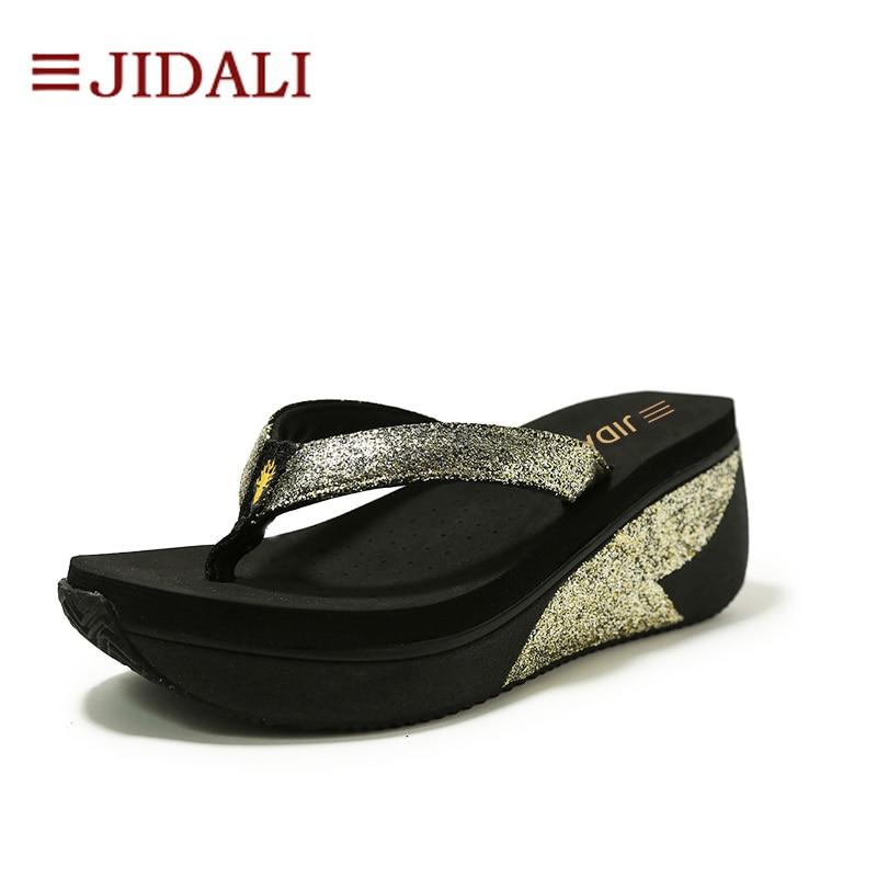 f077e3244e3c JIDALI Fashion Beach Flip Flop Women Shoes 7cm High EVA Gold Bling Outside  Wedges Platform Sport