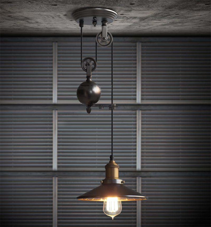 L40-Creative Pulley Lifting Retro Chandelier Adjustable DIY E27 Art Ceiling Pendant Lamp Vintage Loft Antique Fixture Light loft antique retro spider chandelier art black diy e27 vintage adjustable edison bulb pendant lamp haning fixture lighting