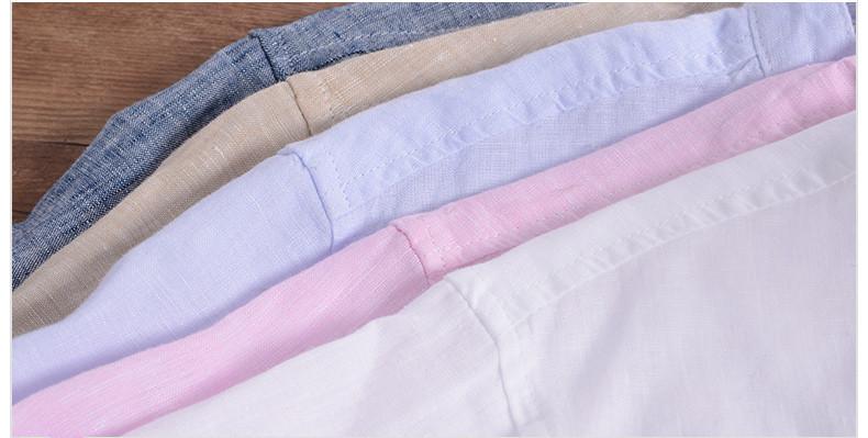 Sky blue linen shirt men summer long sleeve casual men shirts slim breathable shirt mens brand clothing mens shirts chemise 3XL 17