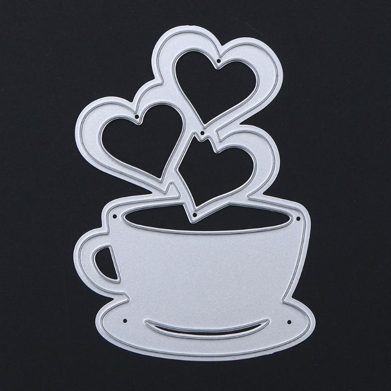 Love Heart Coffee Cup DIY Metal Scrapbooking Craft Embossing Cutting Die Stencil