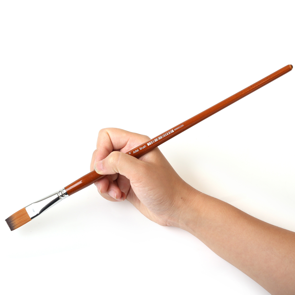 13Pcs/set Long Handle Nylon Hair Oil Paint Brush Flat Shape Paint Brushes Artist For Oil Watercolor Acrylic Painting