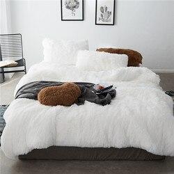 Роскошные Плюшевые с длинным ворсом, постельное белье мульти сплошной Цвет два полных/queen 4/7 шт постельное белье бид простыни подушки для зи...