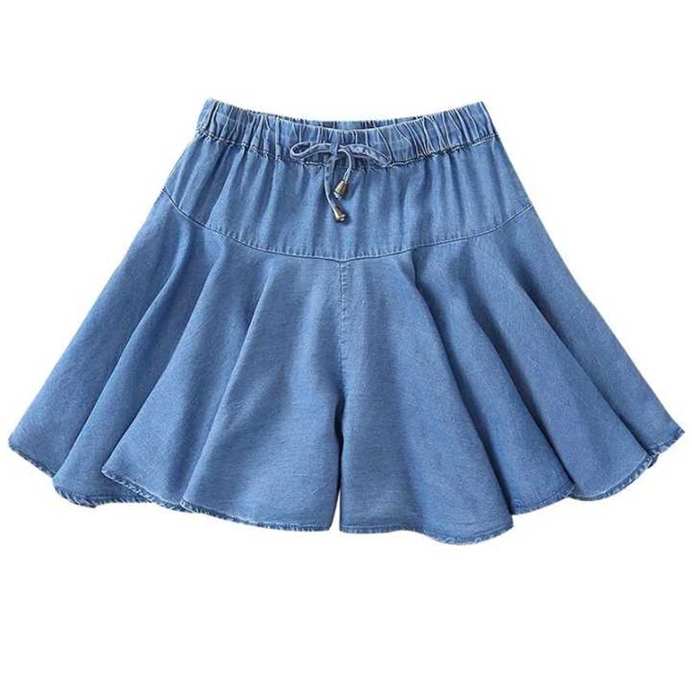 Fashion Wide Leg Skirt Shorts Plus Size Summer Korean High Waist Denim Ruffle Shorts 5XL 6XL 7XL Jeans Shorts Skirts Black Blue