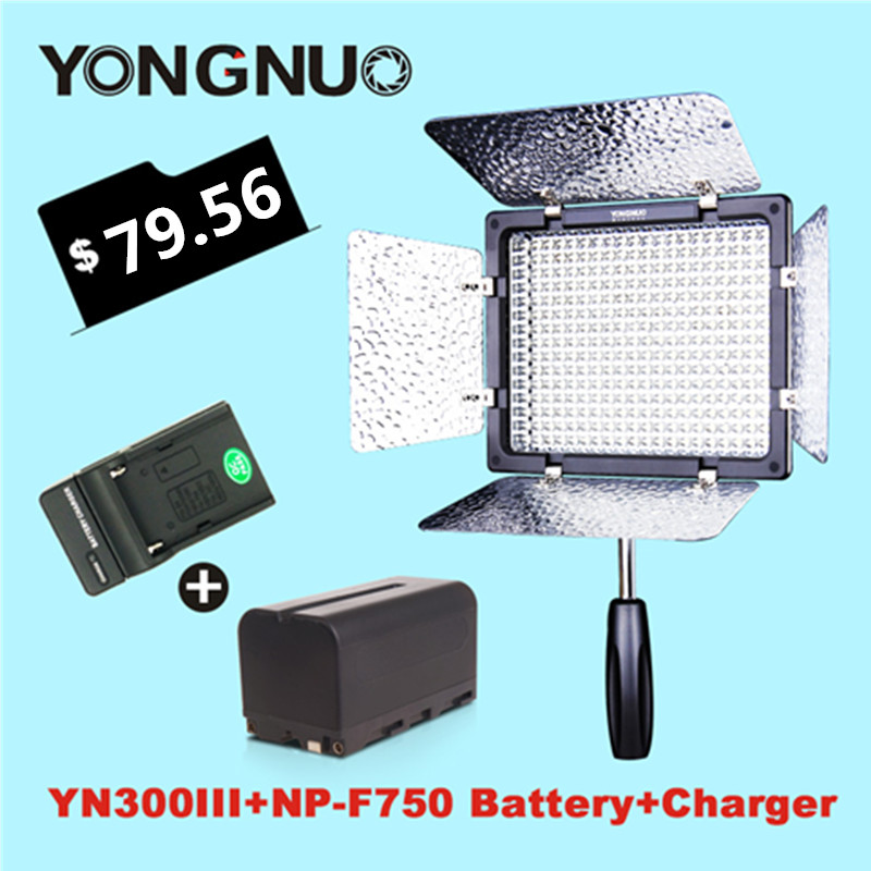 YONGNUO YN-300 III LED Video Panel Light + NP-F750 battery + Charger for Sony Canon Nikon Camera Camcorder 1400mah camera battery for sony np bg1 np fg1 dsc h3 dsc w70 bc csge bc csgd w30