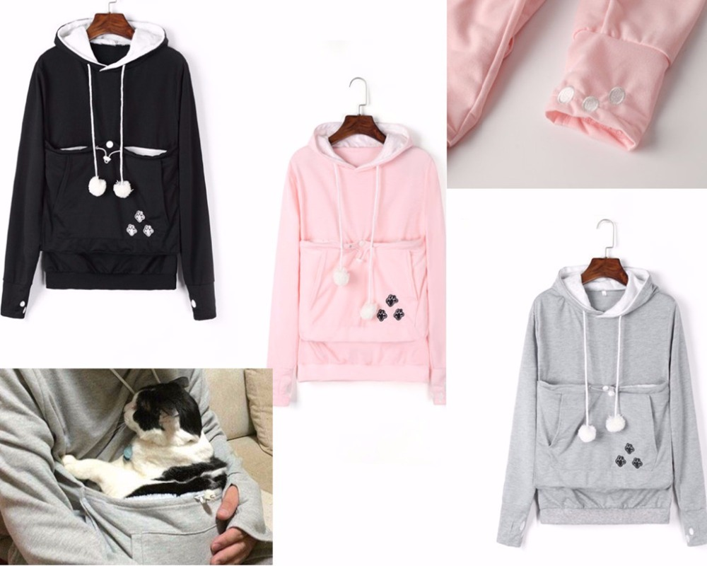 Mewgaroo Kangaroo Pullovers Sweatshirt Cat Lovers Hoodies With Cuddle Pouch Dog Pet Hoodies For Casual Drop Shipping