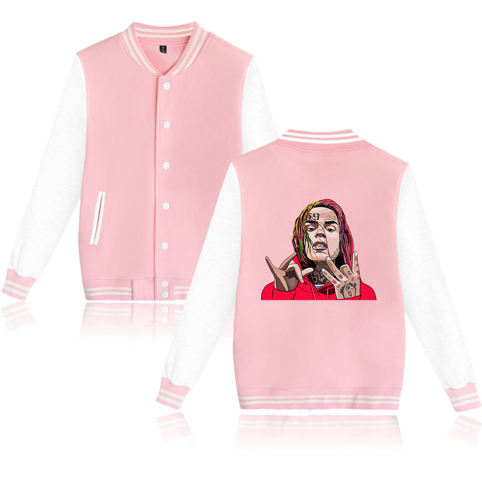 6IX9INE TEKASHI 69 Baseball Uniform Jacket Coat Men Women Harajuku Sweatshirt Winter Fashion Hip Hop Pink Hoodie Funny Clothes