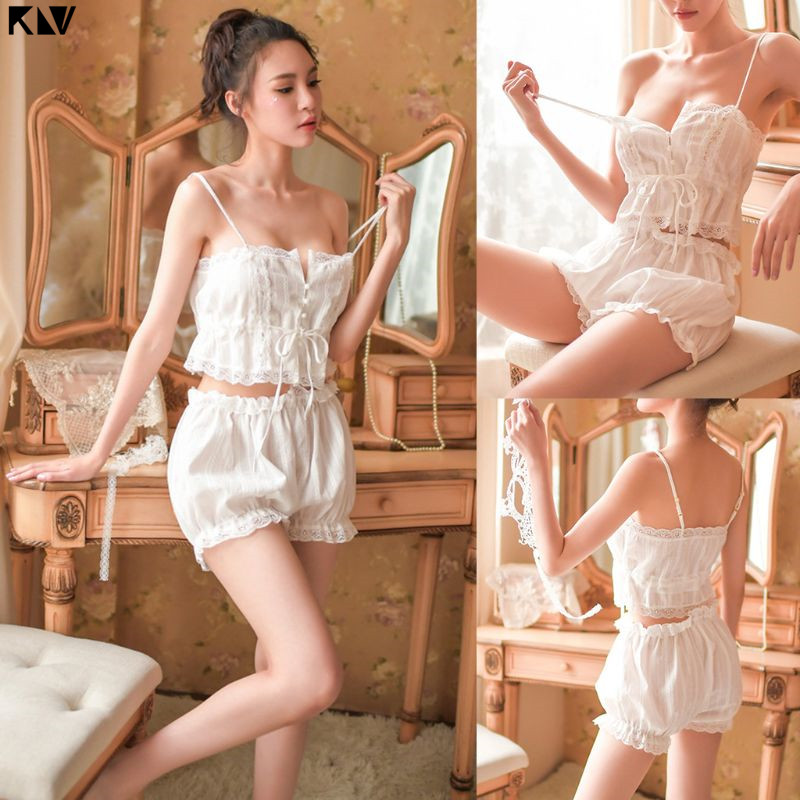 Women Victoria French Palace Sexy Lingerie   Pajamas     Set   Button Up Drawstring Crop Top Camisole Ruffled Lace Bloomers Sleepwear