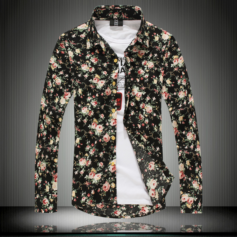 Mens Long Sleeve Floral Shirts