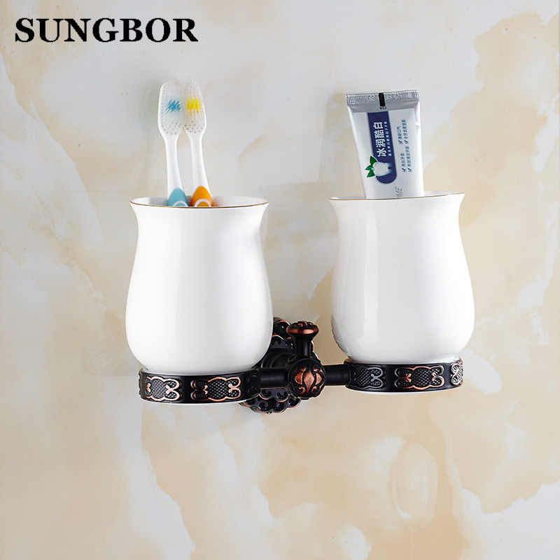 Twin Flowers Series Carving Black Brass Double Cup & Tumbler Holders Bathroom Accessories Toothbrush Cup Holder Toilet Vanity