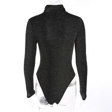 Rapwriter Sexy Solid Turtleneck Keep Warm Slim Glitter Bodysuits Women 2018 Autumn Winter Long Sleeve Bodycon Fitness Bodysuit