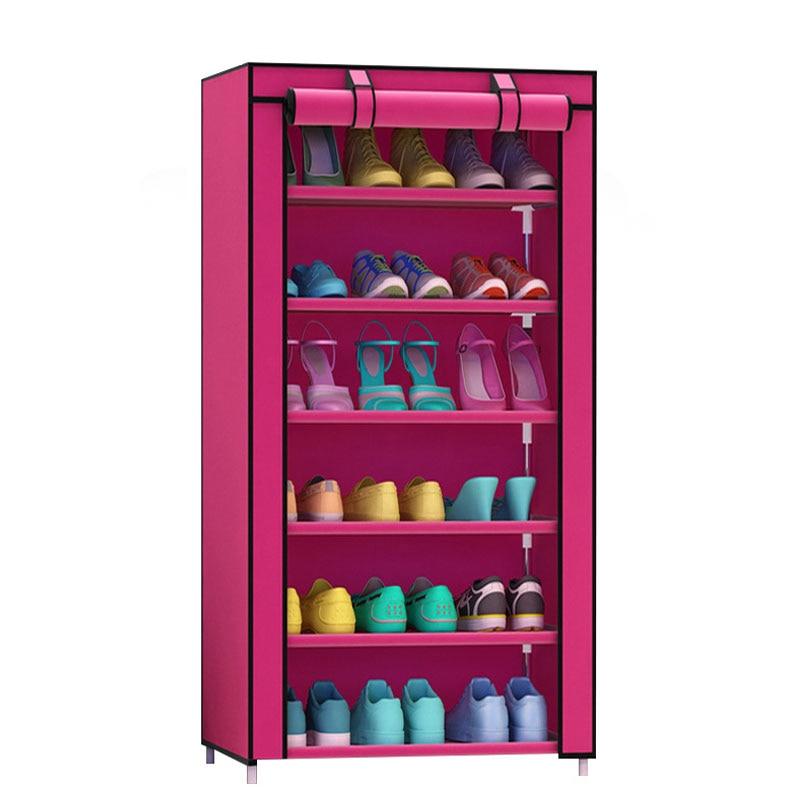 Estante para zapatos grueso no tejido a prueba de polvo de siete capas Gabinete de almacenamiento combinado de bricolaje Gabinete de almacenamiento de zapatos de tubo de acero