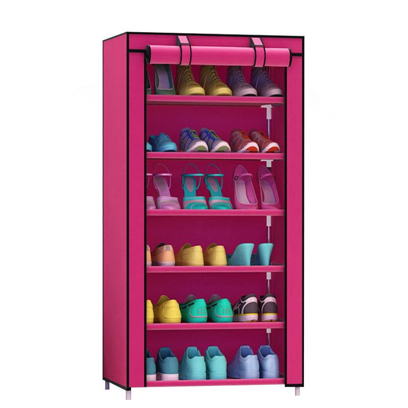 Thick Non-woven Dustproof Seven Layers Shoe Rack DIY Combination Shoe Storage Cabinet Steel Tube Shoe Shelf
