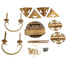 Brass Hardware Set Antique Wooden Box Knobs and Handles +Hinges +Latch +Lock+U-shaped Pin+Corner Protector Furniture Decoration цена 2017