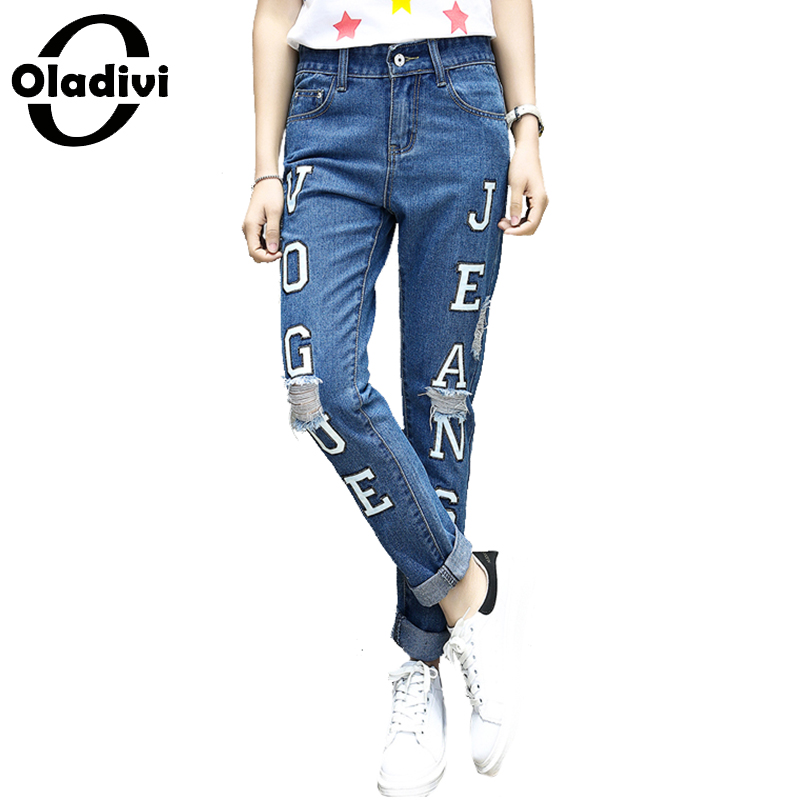 Oladivi Spring Summer New Jeans Women Plus Size Clothing Lady Ripped Letter Print Denim Pants Casual Loose Fashion Trousers 5XL spring summer new denim pants jeans women vintage ankle length jeans high waist lady ripped hole fashion trousers plus size