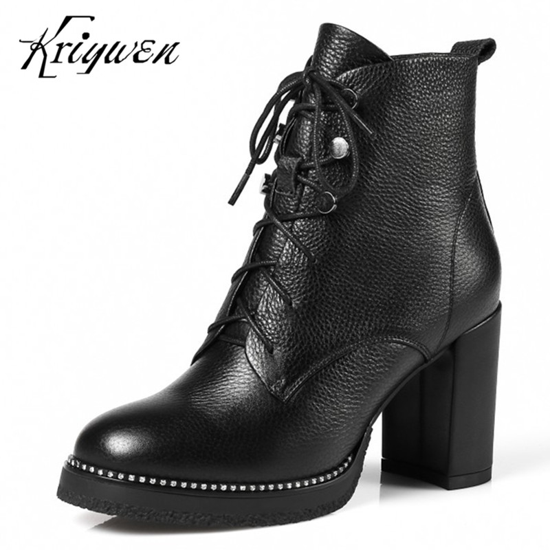 100% Genuine leather women shoes winter femmes botas solid ankle boots thick high heels cross tied martin motorcycle femme boots