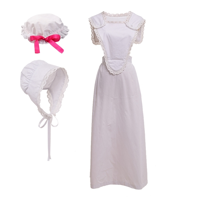 White Maid Costume Victorian Period Adult Women Vintage Colonial French Pinafore Bonnet Halloween Carnival Costume