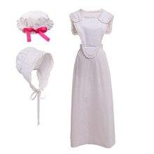 Conjunto de delantal blanco de sirvienta de Cosplay para mujer, disfraz de Carnaval de Halloween, estilo victoriano, Vintage, Colonial, FRANCÉS