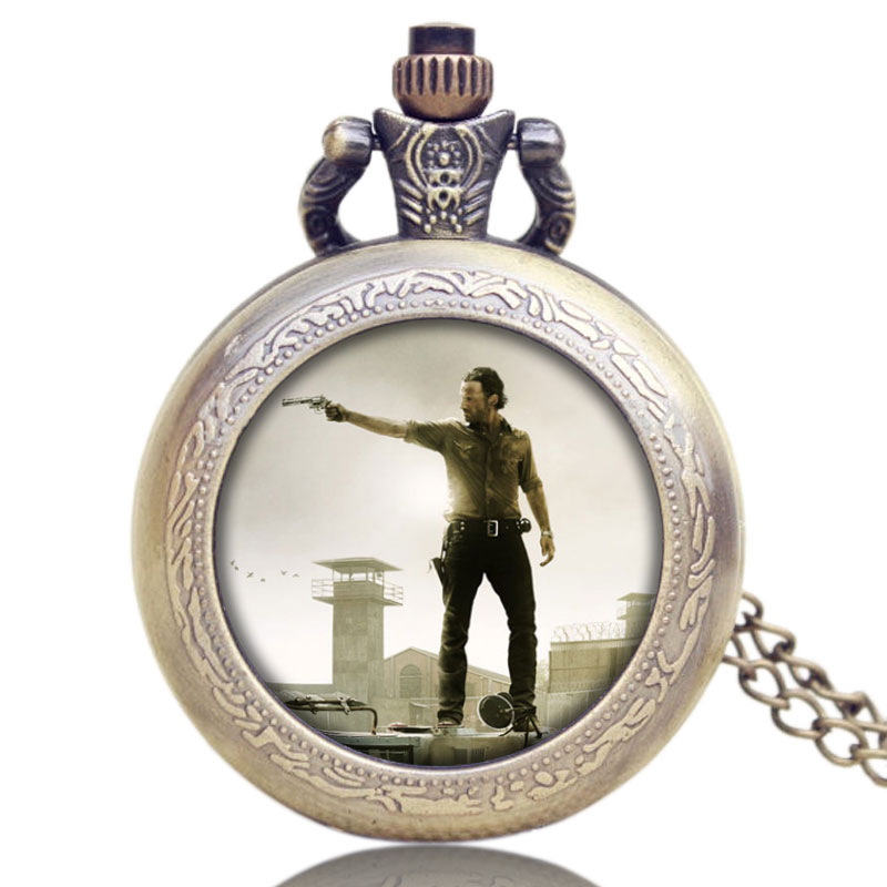 Drop Shipping Fob Pocket Watches Hot American Drama Walking Dead Hero Rick Design Pendant Pocket Watch With Chain Necklace Gifts 2016 new arrival silver fashion pendant pocket watch with silver necklace chain free drop shipping