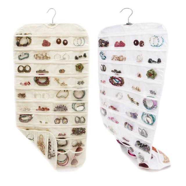 Double Side 80 Pockets Hanging Jewelry Organizer Bracelet Earring