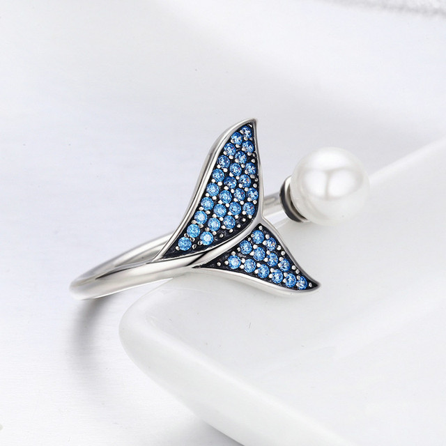 BISAER 100% 925 Sterling Silver Female Mermaid Tail Adjustable Finger Rings for Women Wedding Engagement Jewelry S925 GXR286 2