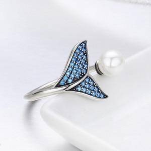 Image 3 - [Kopen 4 Meer Besparen 5%] Bisaer 100% 925 Sterling Zilver Vrouwelijke Mermaid Tail Verstelbare Vinger Ringen Voor Vrouwen bruiloft Engagement