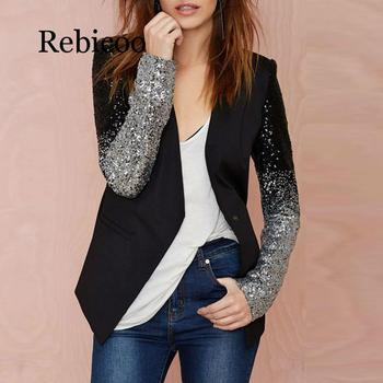 2019 Women Thin Jacket Coat Long Sleeve Lapel Patchwork Bling Silver Black Sequin Elegant Work Blazers Suit feminino