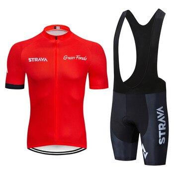 2019 STRAVA vermelho Conjunto Camisa de Ciclismo roupa ropa ciclismo Roupas de Bicicleta ropa hombre Respirável ciclismo Bicicleta Roupas Ciclismo Definir