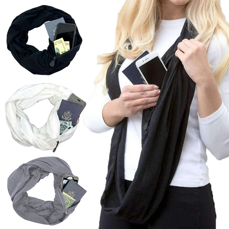 Scarf With Pocket Convertible Journey Infinity Scarf All-match Fashion Women Zipper Pocket Scarf  Soft Pocket Loop Scarf