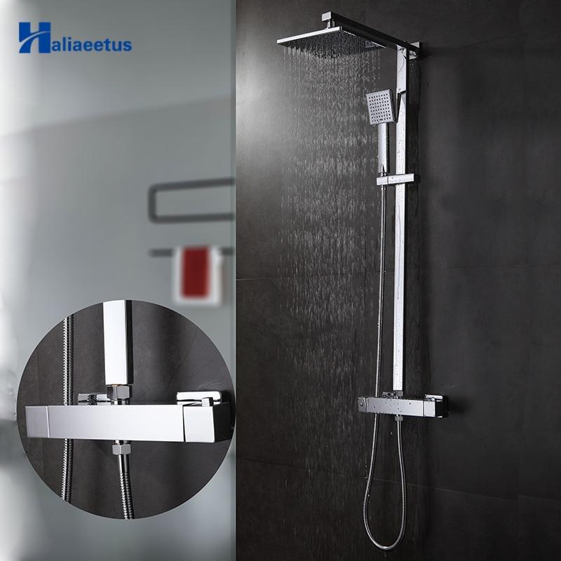 Mitigeur thermostatique salle de bain tête carrée douche et douchette mural ensemble de douche Chrome salle de bain ensemble de douche