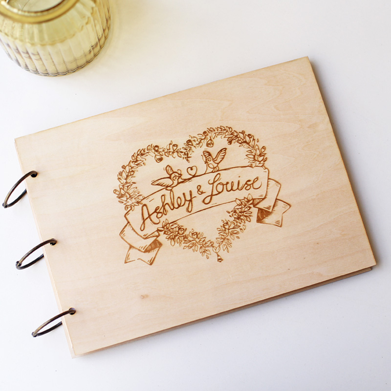 New! Custom wedding guest book, engraved rustic wood album, love birds and heart guestbook,wedding gift
