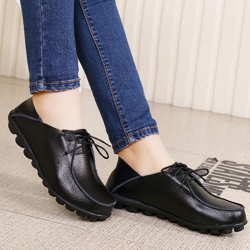MWY Plus Size Spring Autumn Genuine Leather Shoes Woman Flats Work Classi Fashion Female Casual Ladies Loafers Shoes Moccasins keaiqianjin woman genuine leather shoes spring autumn black brown loafers shoes lazy plus size flats genuine leather loafers