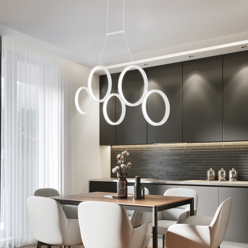 US $81.09 49% OFF|Led restaurant chandelier post modern living room three  headed circle bar lamp creative personality dining room chandelier-in ...