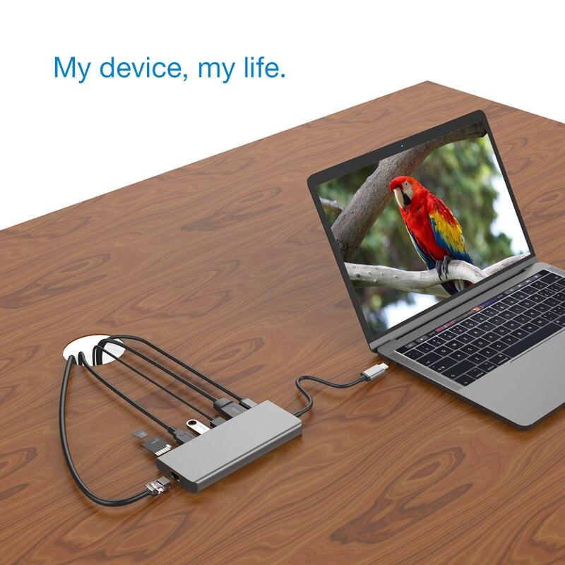 9-in-1 USB C HUB USB 3.0 C a HDMI 4 k SD/lettore di Schede di TF PD di ricarica Gigabit Ethernet rj45 Adattatore per P20 MacBook Pro