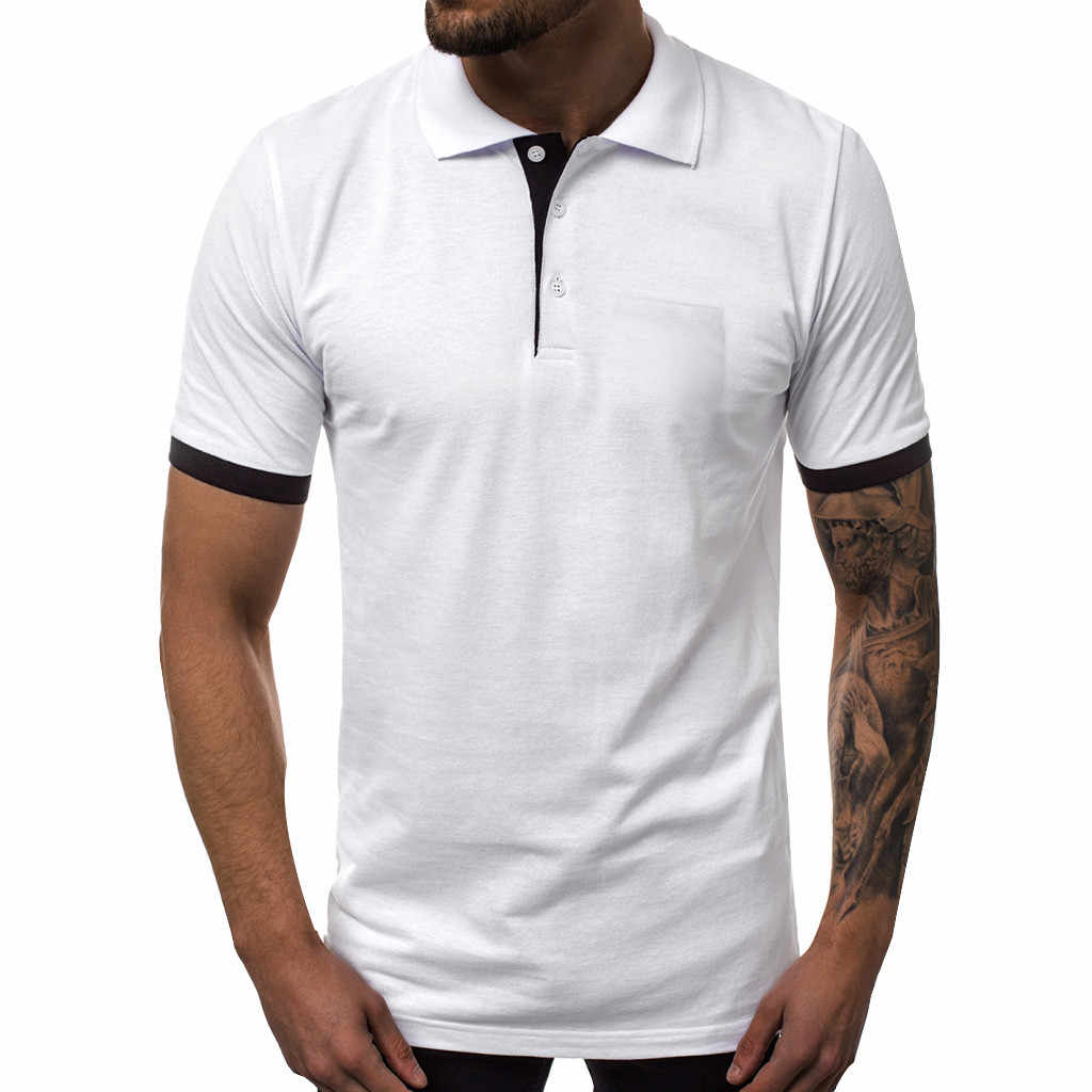 Men's Polo Shirt Summer Casual Patchwork Slim Short Sleeve Pockets Shirt Casual Slim Fit Top Blouse 2019 Men Clothing