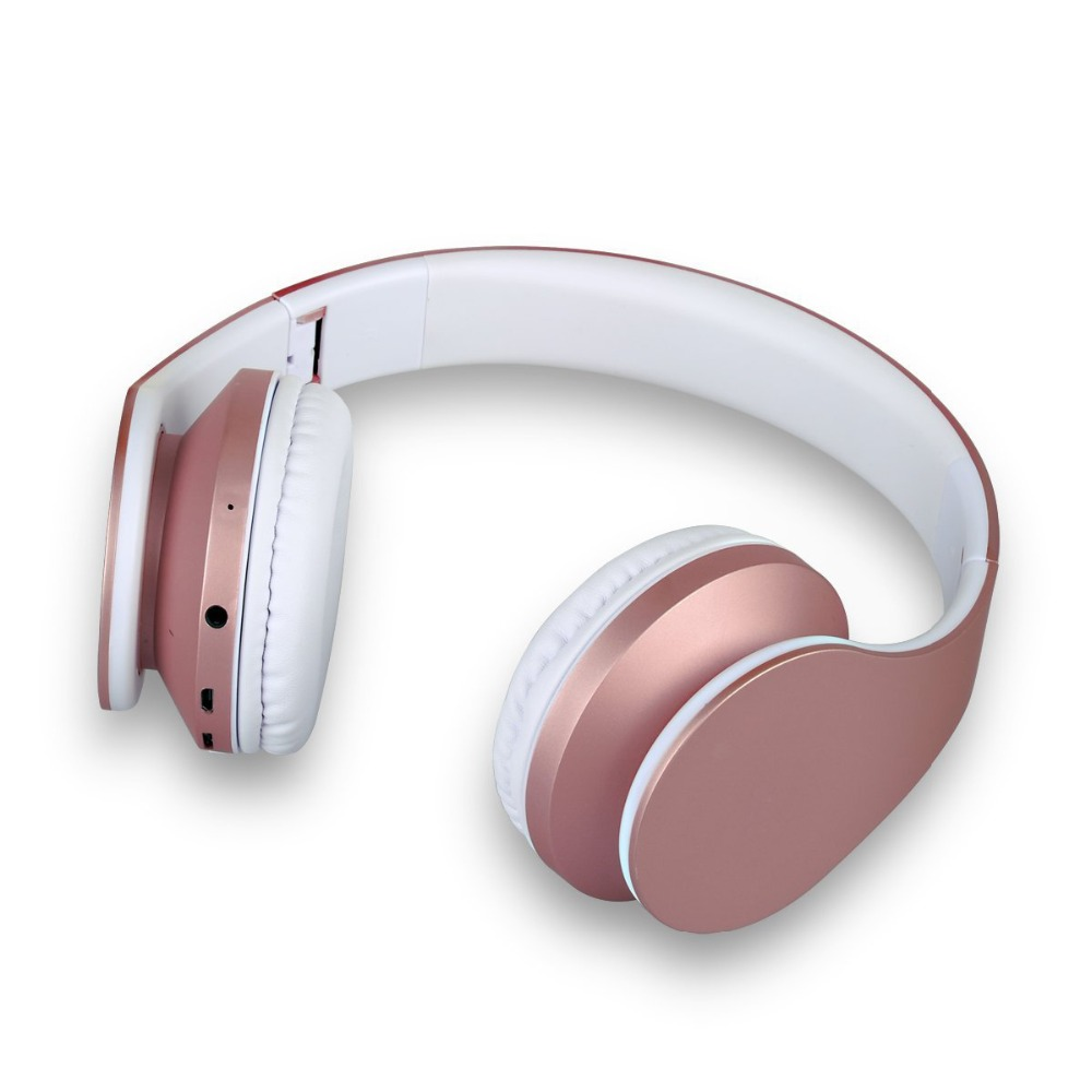 Wireless Bluetooth Headphone Rose Gold Stereo Bass Headset Big Headphones With Mic TF FM Noise Canceling Wireless Headphones