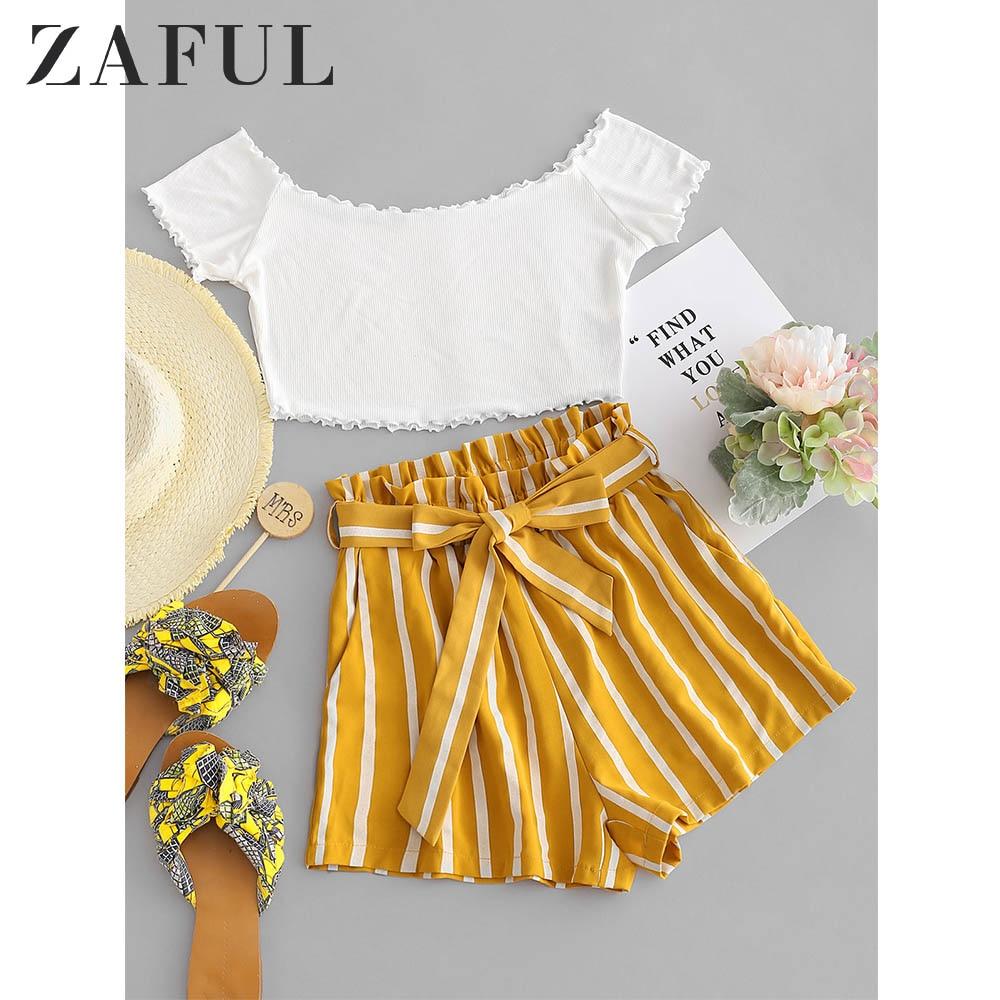 ZAFUL Women Sets Contrast Off Shoulder Top And Stripes Shorts Set Short Sleeves Pockets Elastic High Waist Sweet 2pieces Sets