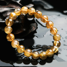 Top Natural Titanium Gold Rutilated Quartz Crystal Woman Man Gemstone Round Beads Bracelet 10mm Jewelry Fashion Stone AAAA
