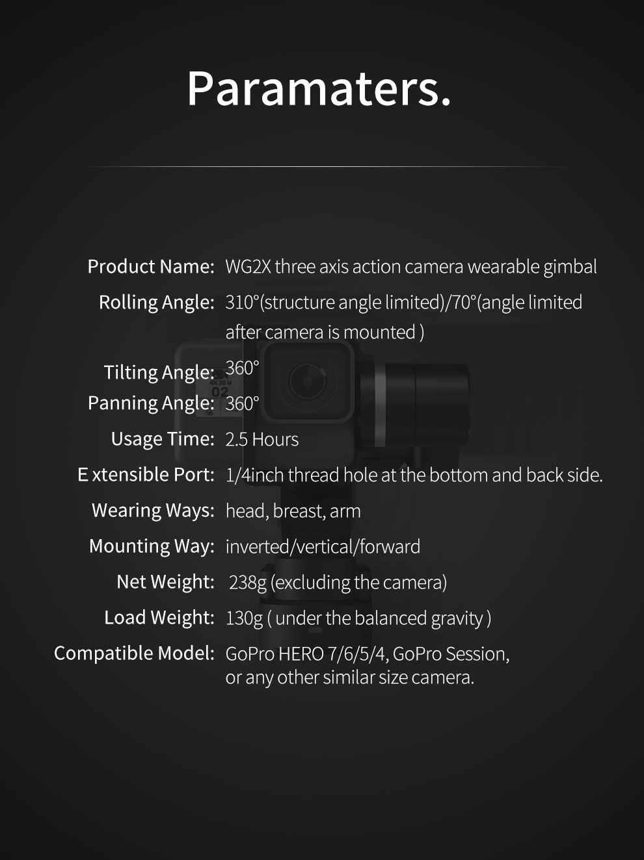 FeiyuTech WG2X 3-осевой стабилизатор с защитой от брызг стабилизатор для Gopro Hero7/6/5 Session экшн-камеры Xiaomi Yi 4 K SJCAM экшн Камера