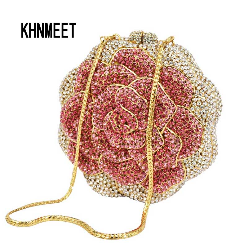 LaiSC 2016 Rose Flower Shaped Crystal Clutch bag free shipping diamond gold pink colorful Handmade Evening