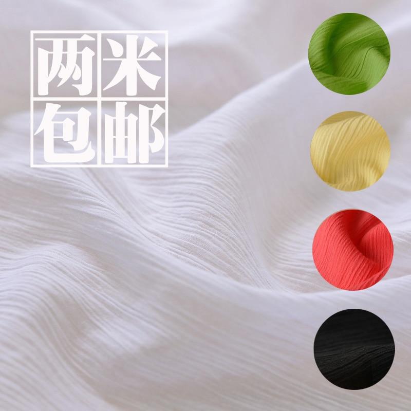 Pastorale schlichte feste Krepp geknitterte dünne Baumwolle Leinen Gaze Schal Kleidung mit Kleidung Baby Stoff 110 * 100 cm ausgekleidet