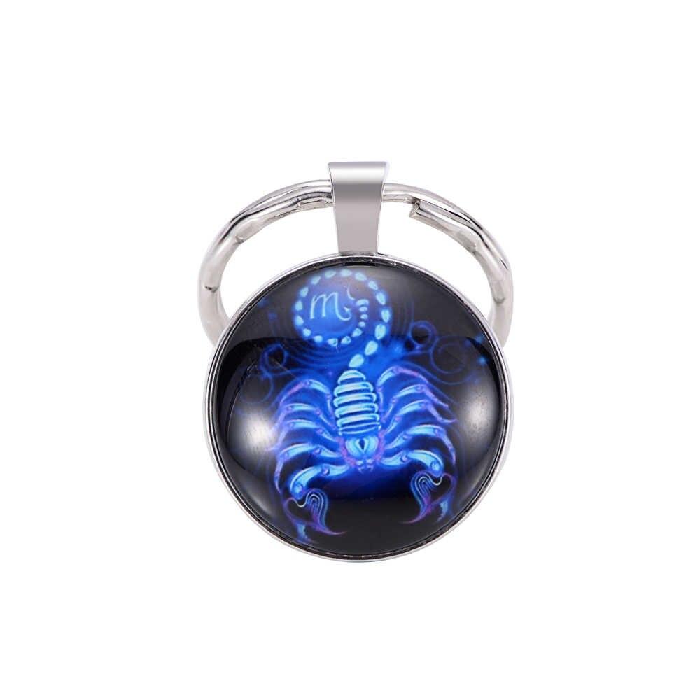Sinal luminoso do zodíaco chaveiro 12 constelação leão libra escorpião sagitário pingente dupla face chaveiro titular da chave de aniversário